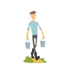 Man Bringing Buckets Of Water vector image