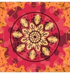 Mandala like lace in red colors vector