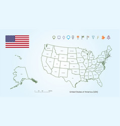 Map the united states america outline for vector