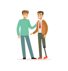meeting friends two men talking one man vector image