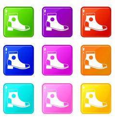 Men boot icons 9 set vector