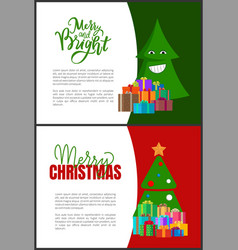 merry christmas postcards green xmas trees cones vector image