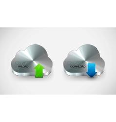 Metal cloud icon set vector