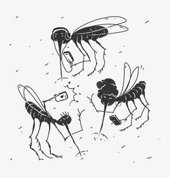 Mosquitoes use gadgets caricature vector