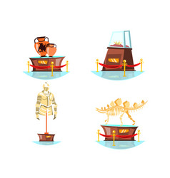 Museum exhibits on white background vector