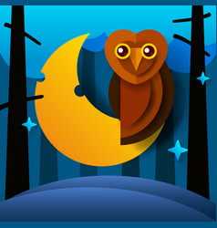 nature wild forest owl sitting on the moon vector image