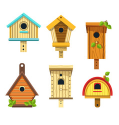 nesting boxes or birdhouses isolated icons wooden vector image