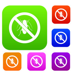 No cockroach sign set collection vector