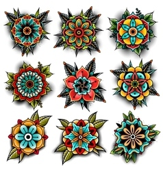 Old school tattoo flowers set vector