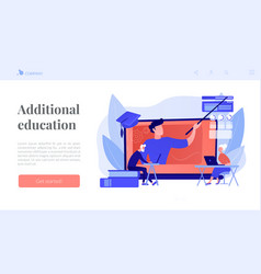 Online learning for seniors concept landing page vector