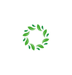 organic isolated green circle logo leafs vector image
