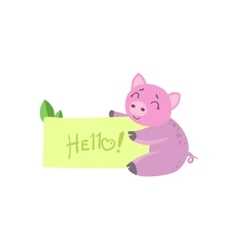 Pig With The Template For The Message vector image