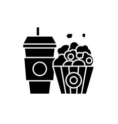 popcorn and cola black icon sign on vector image