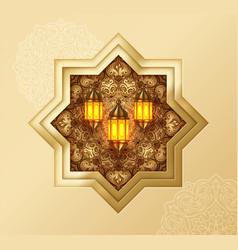 Ramadan kareem islamic gold design background vector
