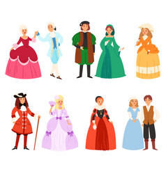 renaissance clothing woman man character in vector image