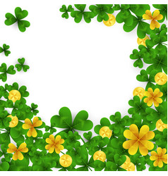 saint patrick s day frame with green and gold four vector image