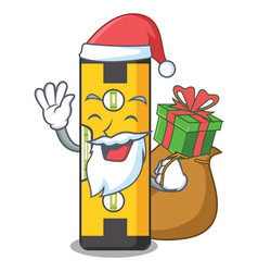 Santa with gift spirit level in a cartoon bag vector