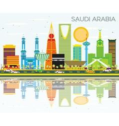 Saudi Arabia Skyline with Color Landmarks vector