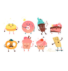 Set of funny dessert characters with human faces vector