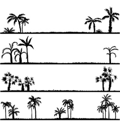 set palm tree silhouettes vector image