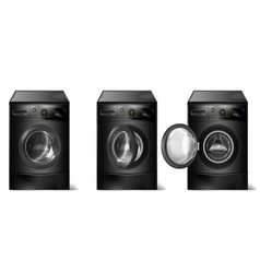 Set realistic black washing machines vector
