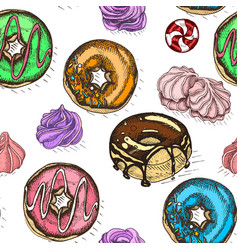 sketch donut vintag card menu vector image