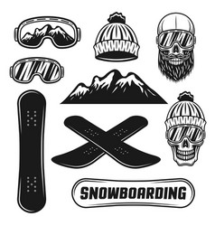 Snowboarding equipment set of objects vector