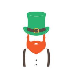 stylish irishman with ginger beard wearing hat vector image