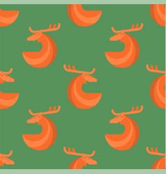 stylized red deer seamless pattern vector image