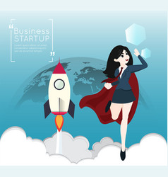 Superhero business woman cartoon for start up vector