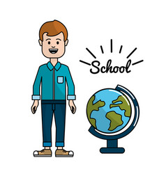 Teacher with earth planet desk in the school vector