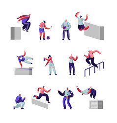 teenagers making parkour tricks and paint graffiti vector image