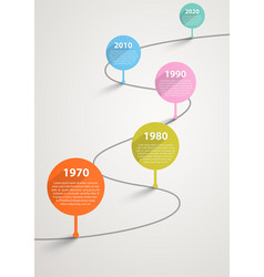 Temporary timeline with pointers by years vector