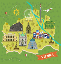 Travel map of vienna austria with landmarks vector