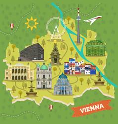 Travel map vienna austria with landmarks vector