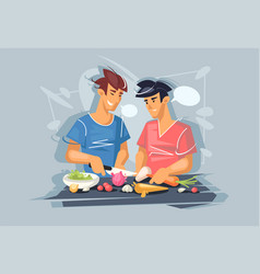 Two young guys are cooking gay couple healthy vector