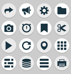 user icons set with list play folder and other vector image