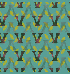 V from alfabet repeat pattern print background vector
