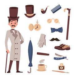 Victorian gentleman set traditional stuff flat vector