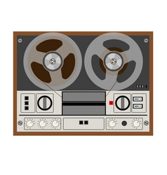 vintage analog stereo reel tape recorder vector image