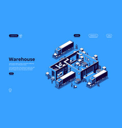 warehouse logistics isometric landing page banner vector image