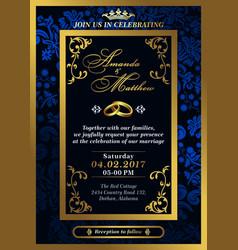 Wedding invitation in dark colors vector