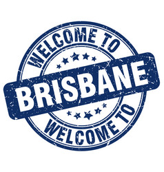 Welcome to brisbane blue round vintage stamp vector