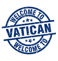 Welcome to vatican blue stamp vector