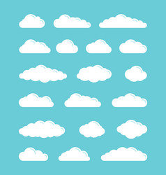 white flat simple clouds icons set vector image