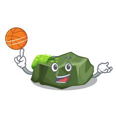 with basketball cartoon green rock sample of high vector image
