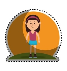 Woman avatar character isolated icon vector