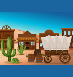 Wooden wagon and building in desert vector