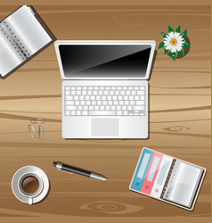 work object on wooden background vector image