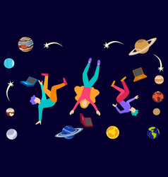 Young college students floating in space with vector